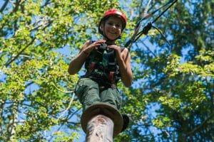 Doppelte Sicherheit beim Klettern im Ferienhort Hochseilpark