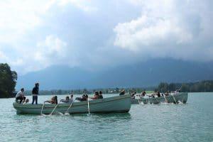 Rudern auf den Ferienhort Booten am Wolfgangsee