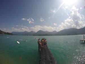 Blick vom Ferienhort Schwimmsteg auf den Wolfgangsee