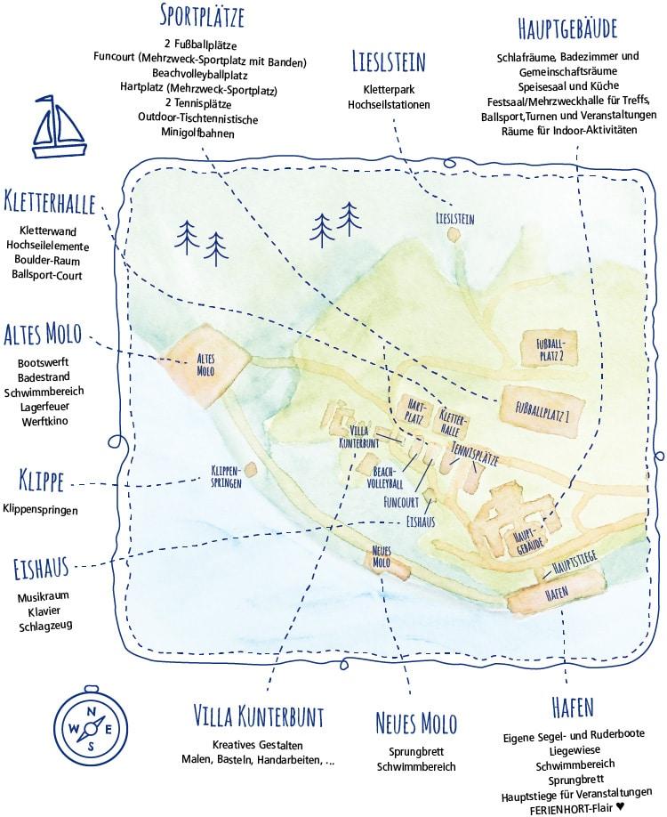 Plan vom Ferienhort Camp-Gelände